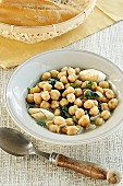 Two Bowls of Chickpea and Spinach Soup; Pot of Soup