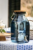 Blue glass drink dispenser