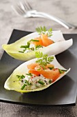 Chicory boats filled with smoked salmon