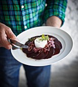 Beetroot carpaccio with goat's cream cheese