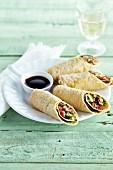 Stuffed pancake rolls with a soya dip