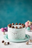 A speckled Easter cake decorated with chocolate eggs