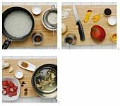 Lammspieße mit Reis und Mangosalat zubereiten