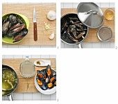 Steamed mussels with curry being made