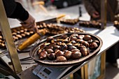 Roasted chestnuts at a street market in Istanbul, Turkey.