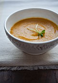 Organic carrot and ginger soup with cress