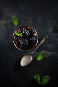 Vegan chocolate mousse with blackberries