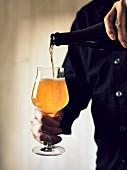 Mann schenkt ein Glas Bier ein (Sorte: India Pale Ale)