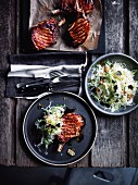 Soy glazed pork cutlets with Japanese slaw