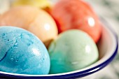 Easter eggs in an enamel bowl