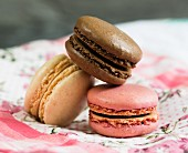 Three macaroons: chocolate, vanilla and raspberry (close-up)