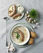 White borscht with white Polish sausage