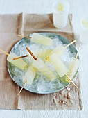 Homemade lemon and ginger ice lollies