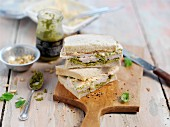 Chicken sandwich with coleslaw and pesto