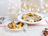 Brioche pudding with vanilla sauce for Christmas
