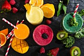 A colourful arrangement of smoothies