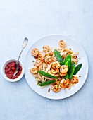 Tagliatelle with prawns, mange tout and chilli sauce