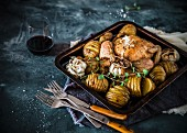 Roast chicken with hasselback potatoes