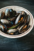 Steamed mussels in a saffron broth with chives