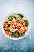 Sweet potatoes with spinach, quinoa, pecan nuts, cranberries and feta cheese