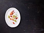 Lobster tartare with avocado, coriander and blood orange