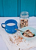 Coconut and apricot muesli and a jug of milk