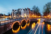 Leidsegracht and Keizersgracht by dusk, Amsterdam, Netherlands