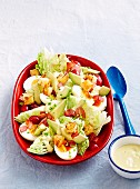 Bacon and egg salad with avocado dressing