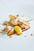 Sour cream shredded pancakes with caramelised apples