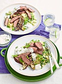 Steak with Eggplant, Couscous & Cumin Youghurt