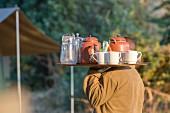 Tea time on a walking safari, Zambia, Africa