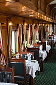 The dining car of the luxury train Rovos Rail (journey from Durban to Pretoria, South Africa)