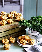 Corn, bacon and kale mini muffins