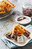 Waffle sticks with dark and white chocolate