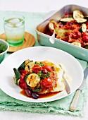 Lammkoteletts Überbacken mit Gemüsepesto und Oliven