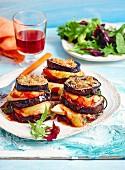 Hähnchen-Auberginen-Parmigiana mit Mozzarella