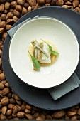 Cod confit with artichokes and quince purée