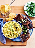 Barbecued Lamb with Creamed Corn