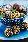 Bliss ball truffles with nuts and coconut