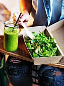 Pineapple & Mint Smoothie, Supergreen Salad with Nuts & Seeds
