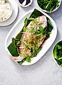 Steamed Whole Snapper with Ginger & Shallots