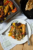 Grilled chicken breast and oven-roasted vegetables