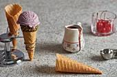Ice cream cones in a cone holder