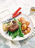 Pepper Steaks with Crispy Potatoes