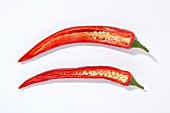 Two halves of red chillis