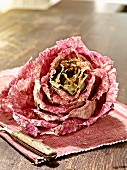 Radicchio chioggia on a place mat