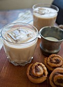 Mini cinnamon buns with iced coffee
