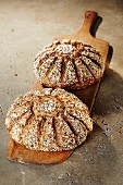 Two loaves of multigrain quark bread