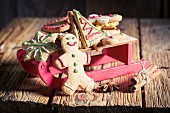 Gingerbread biscuits on a sleigh for Christmas