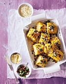 Corn cobs with coriander and Cheddar cheese
